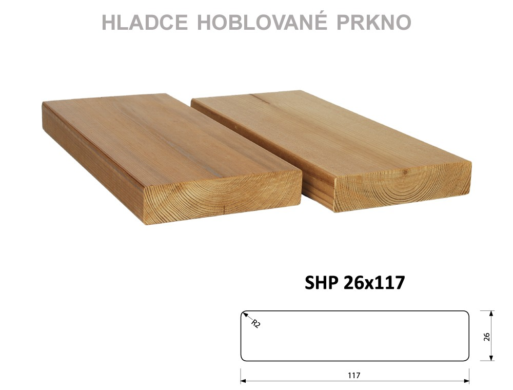 Prkno THERMOWOOD SHP 26x117, délka 3900mm