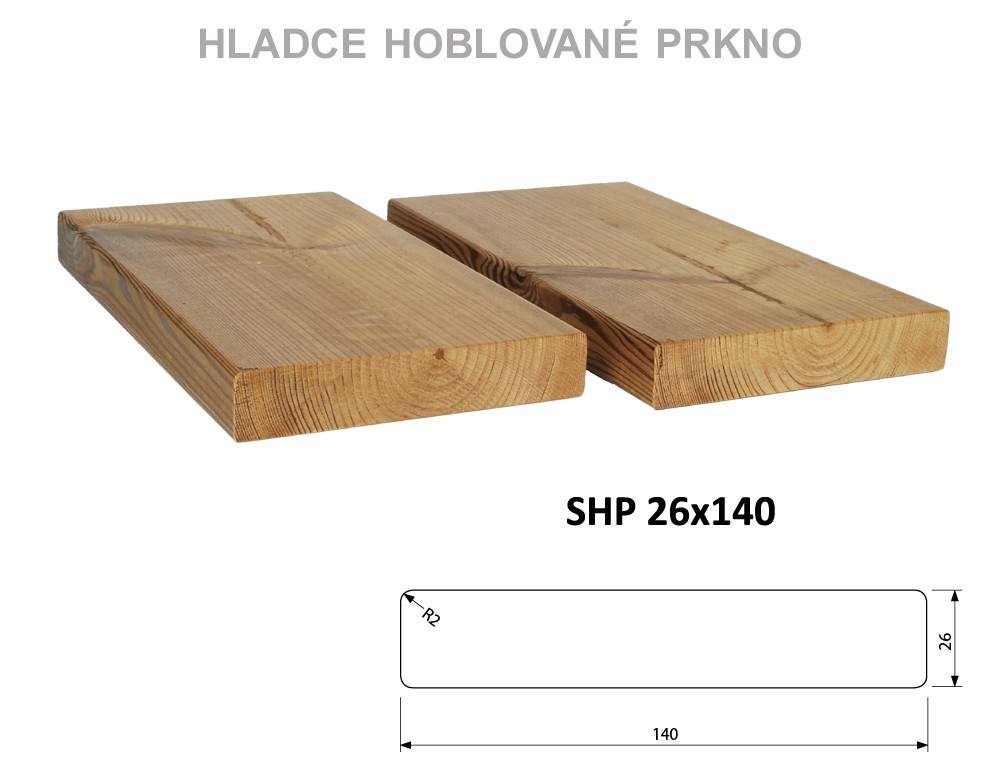 Prkno THERMOWOOD SHP 26x140, délka 3000mm